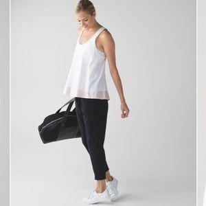 Lululemon All Tied Up Scoop White Pink Tank
